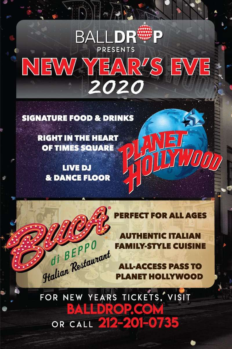 Planet Hollywood Times Square New Years Eve 2018