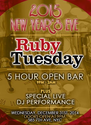 New Years Eve At Ruby Tuesday Nyc Nyc New Years Eve 2016