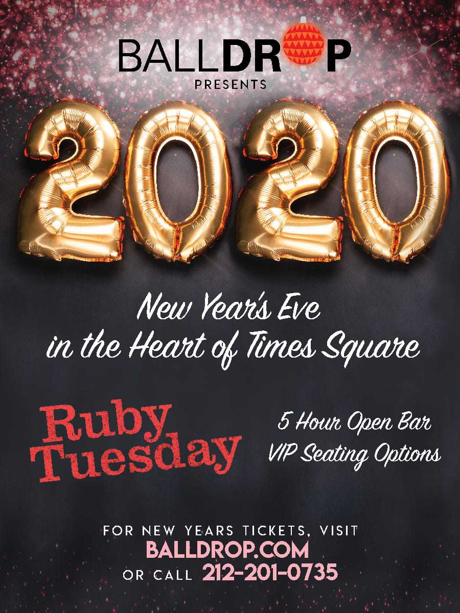Ruby Tuesday Times Square New Years Eve 2020