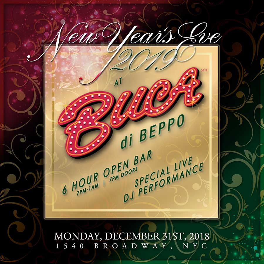 Buca di Beppo Times Square New Years Eve 2018